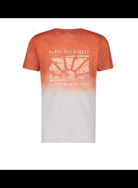 A FISH NAMED FRED Modern Fit Dye Artwork Orange T- Shirt