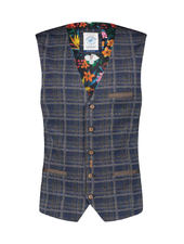 A FISH NAMED FRED Travel Navy Check Print Vest