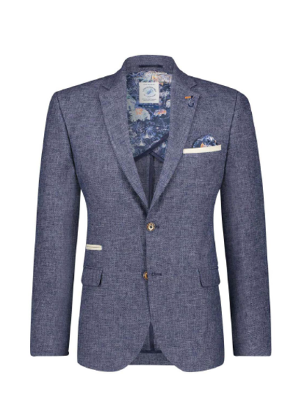 A FISH NAMED FRED Slim Fit Navy Linen Sport Coat