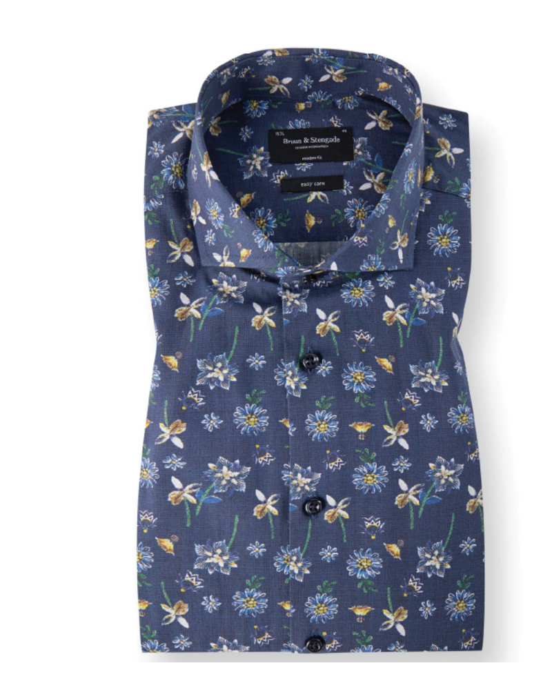 BRUUN & STENGADE Modern Fit Navy Floral Pattern Shirt