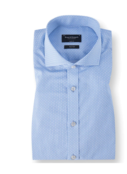 BRUUN & STENGADE Modern Fit Light Blue Circle Pattern Shirt