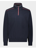PAUL & SHARK Cotton Knit Navy Red Piping 1/4 Zip Sweater