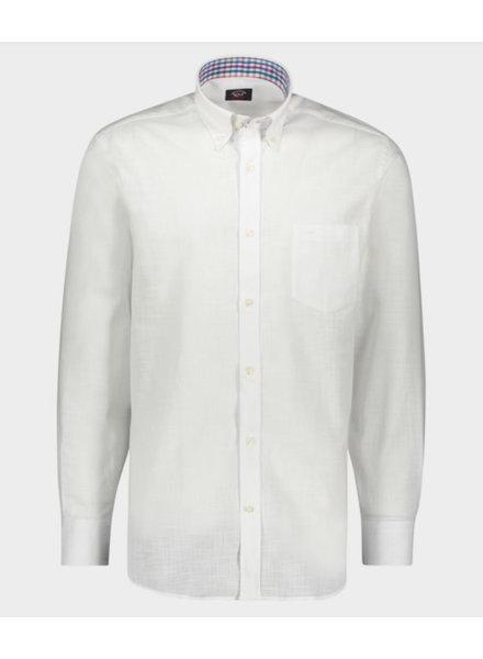 PAUL & SHARK Classic Fit Cotton Linen Shirt with Mask