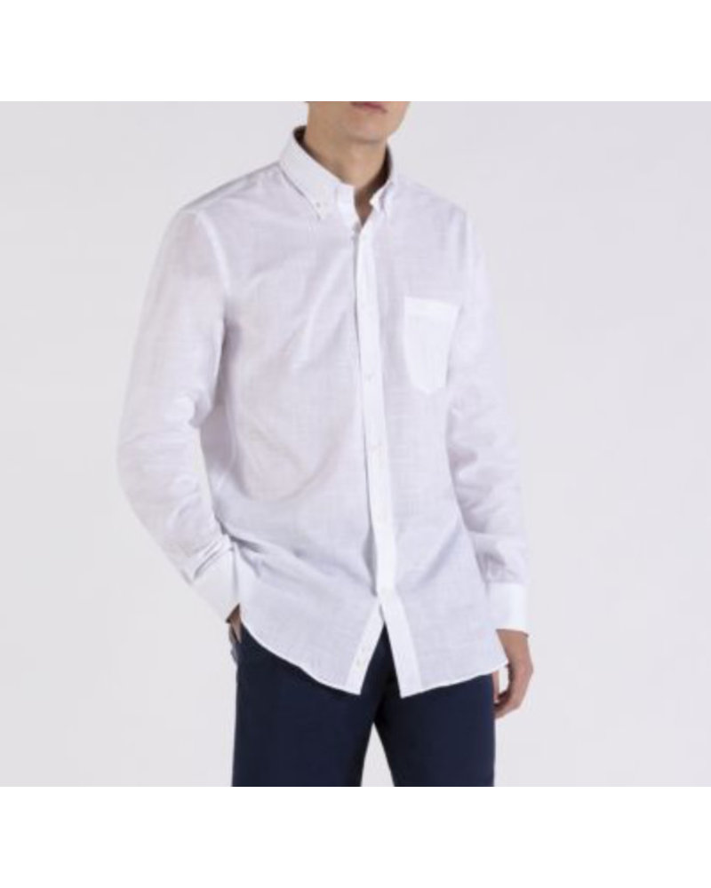 PAUL & SHARK Classic Fit White Organic Cotton Shirt with Mask