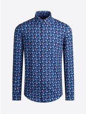 BUGATCHI UOMO Modern Fit Oooh Cotton Blue Floral Shirt