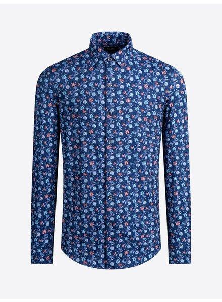 BUGATCHI UOMO Modern Fit Ooh Cotton Blue Floral Shirt