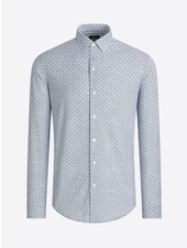 BUGATCHI UOMO Modern Fit Oooh Cotton Blue Olive Circle Shirt