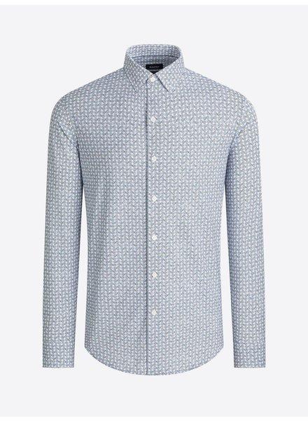 BUGATCHI UOMO Modern Fit Ooh Cotton Blue Olive Circle Shirt