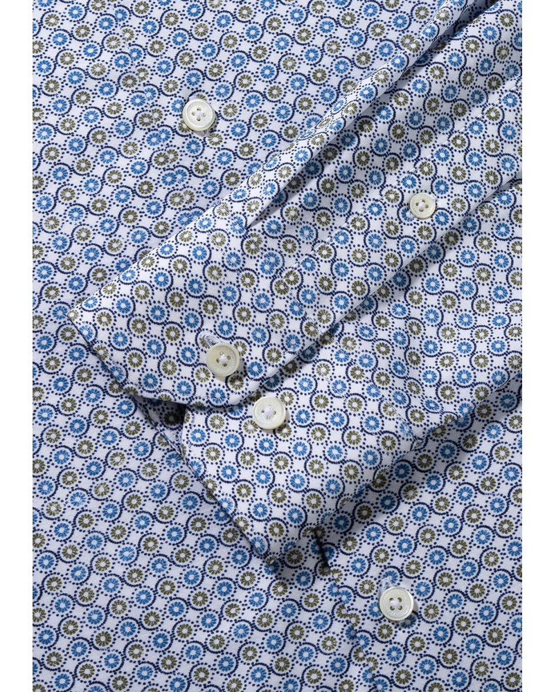 BUGATCHI UOMO Modern Fit Oooh Cotton Blue Olive Circle Shirt