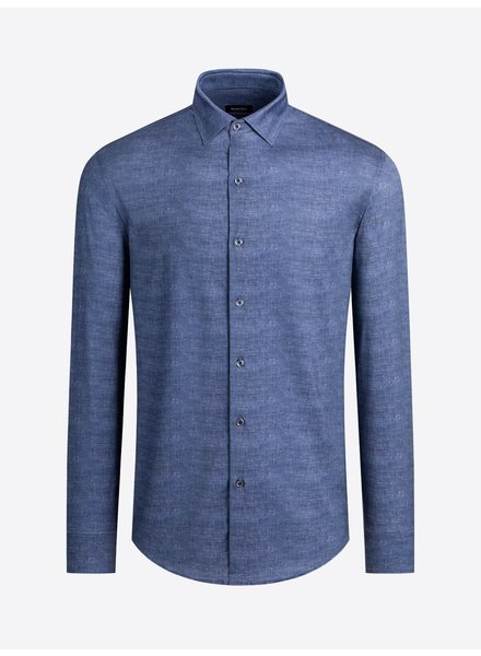 BUGATCHI UOMO Modern Fit Ooh Cotton Denim Blue Shirt