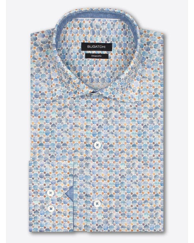 BUGATCHI UOMO Classic Fit Blue Tan Circles Shirt
