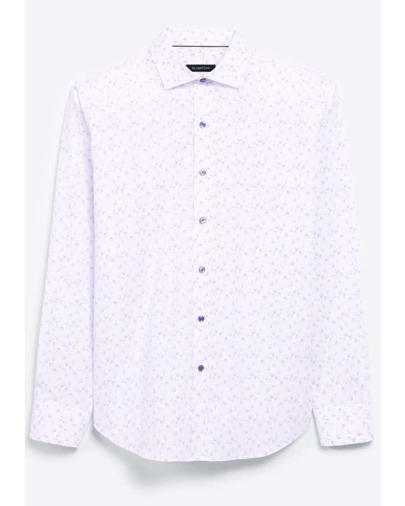 BUGATCHI UOMO Classic Fit White with Blue Shirt