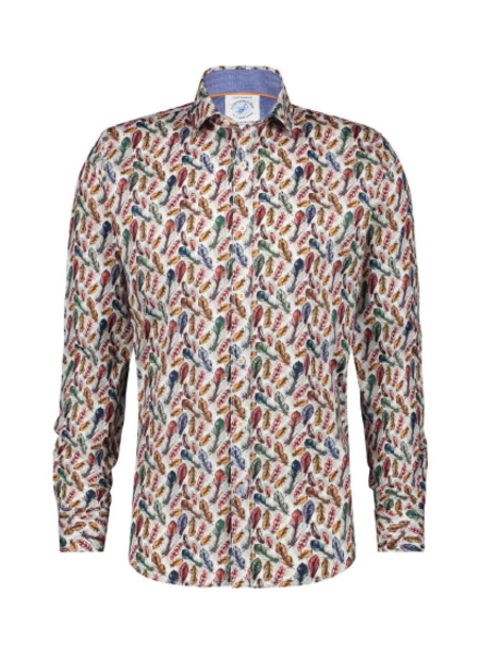 A FISH NAMED FRED Modern Fit Feathers Brown Shirt
