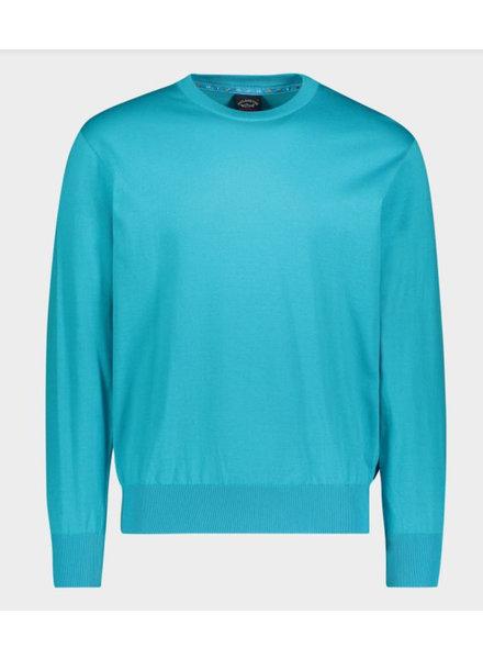 PAUL & SHARK Turquoise Organic Cotton Crewneck Sweater