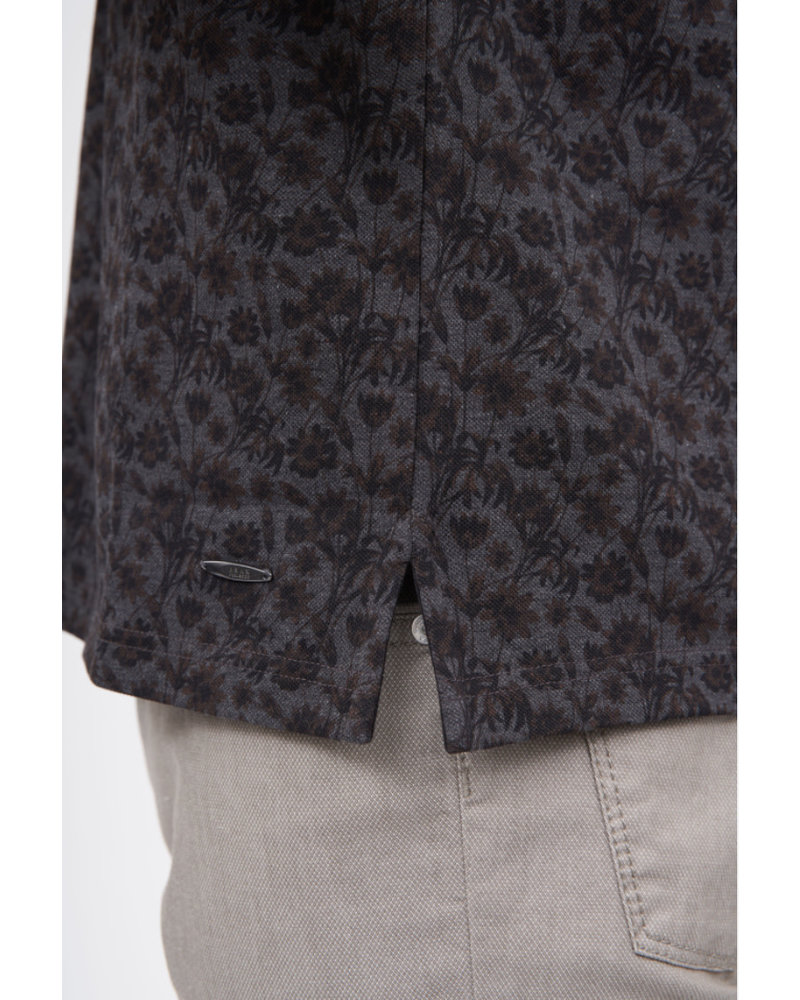 BRAX Charcoal Brown Floral Polo
