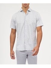 BRAX Modern Fit White Small Grey Floral Shirt