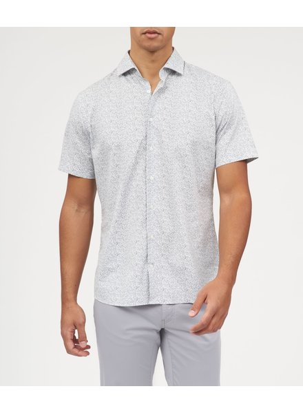BRAX Modern Fit White Small Grey Floral Shirt
