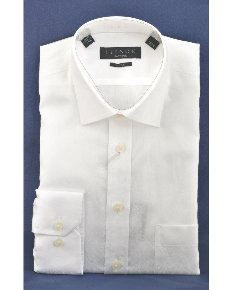 LIPSON Classic Fit White with Tonal Diamond Shirt