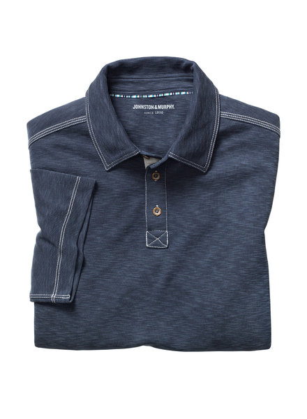 JOHNSTON & MURPHY Classic Fit Slub Polo Navy