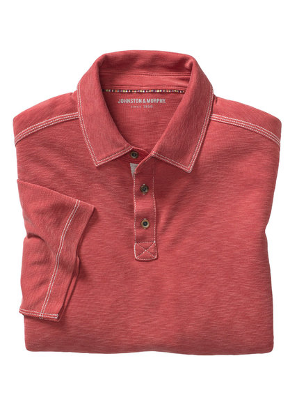 JOHNSTON & MURPHY Classic Fit Slub Polo Red