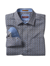 JOHNSTON & MURPHY Classic Fit Time Piece Print Blue Shirt