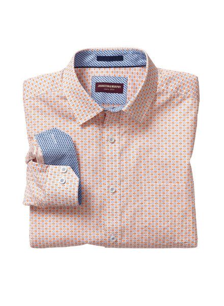 JOHNSTON & MURPHY Classic Fit Cross Grade Print Orange Shirt