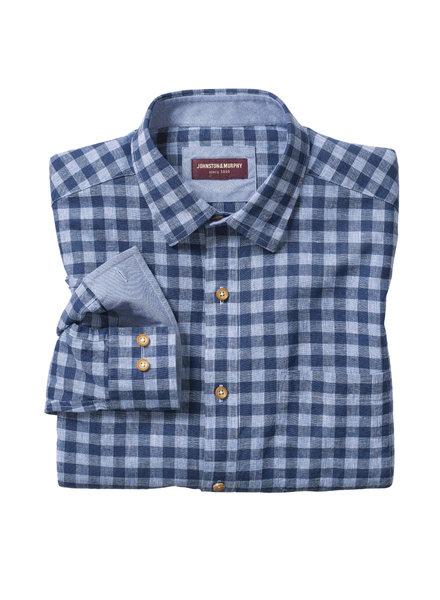 JOHNSTON & MURPHY Classic Fit Gingham Blue Shirt