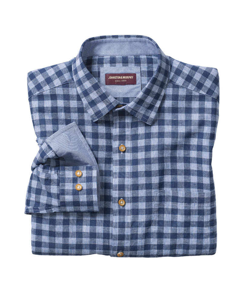 JOHNSTON & MURPHY Classic Fit Gingham Blue Shirt