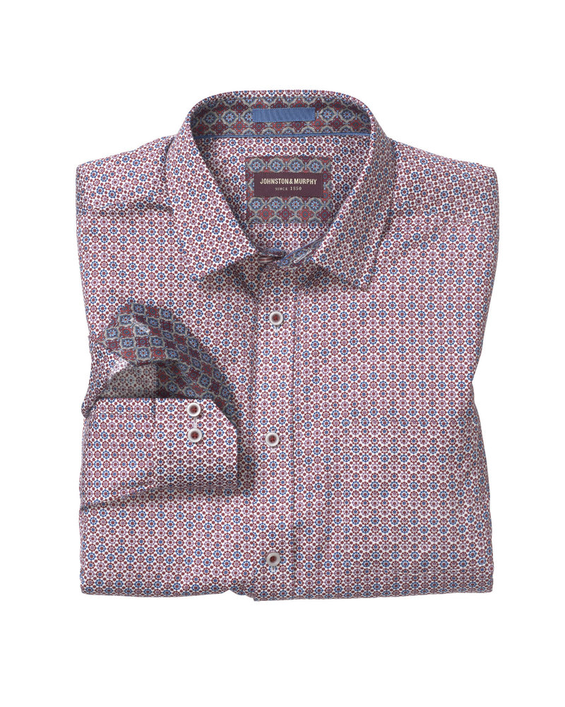 JOHNSTON & MURPHY Classic Fit Moroccan Tile Print Red Shirt