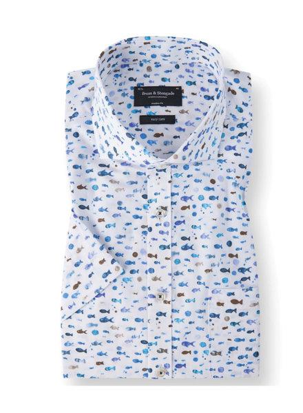 BRUUN & STENGADE Modern Fit Blue Multi Color Fish SS Shirt