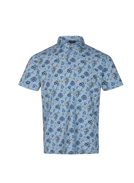 BRUUN & STENGADE Modern Fit Floral Print Stretch Polo