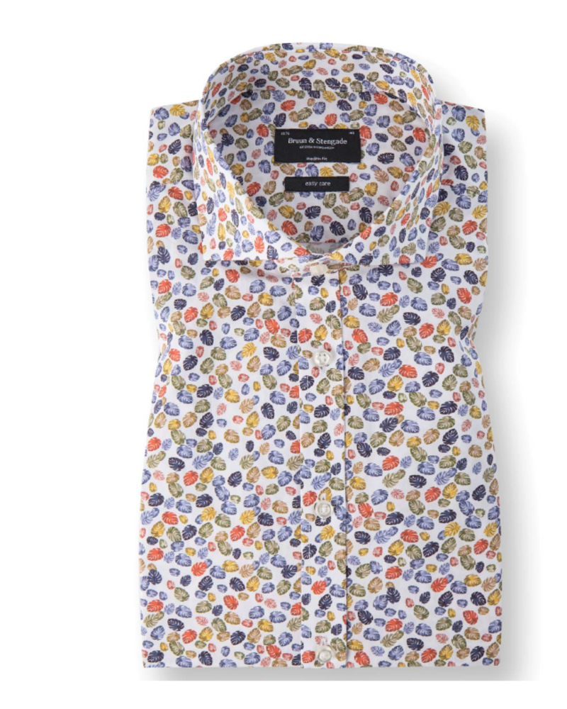 BRUUN & STENGADE Modern Fit Multi Color Leaf Shirt