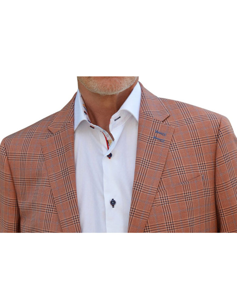 7 DOWNIE Modern Fit Orange Plaid Sport Coat