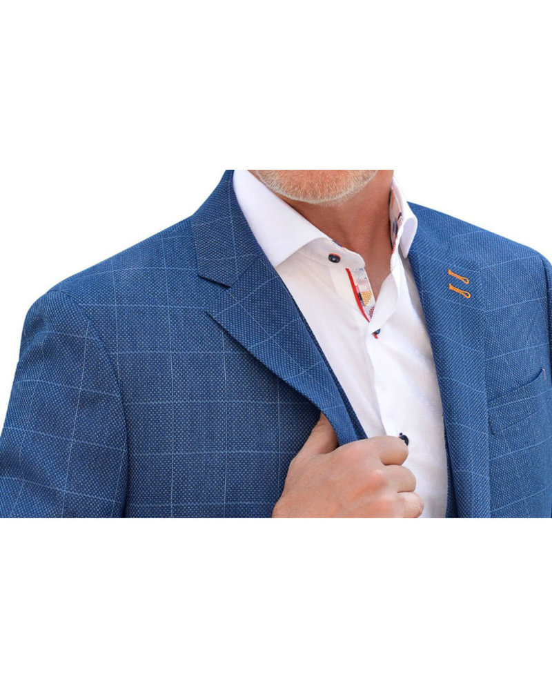 7 DOWNIE Modern Fit Blue Block Sport Coat