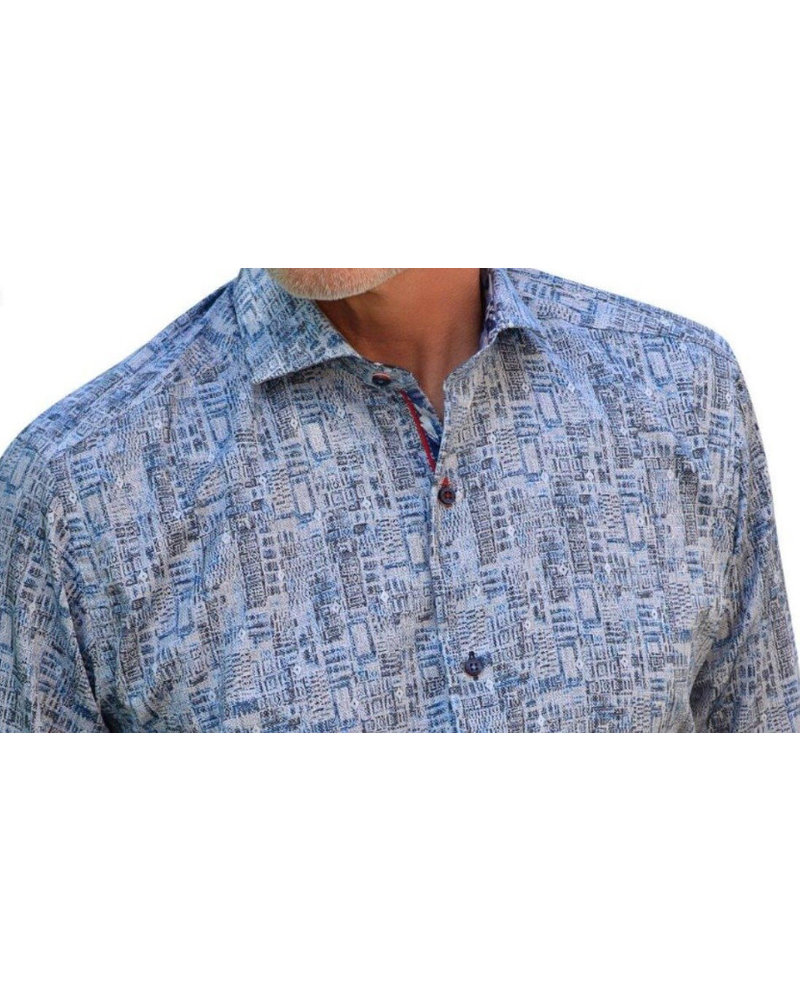 7 DOWNIE Modern Fit Blue Grey Print Shirt