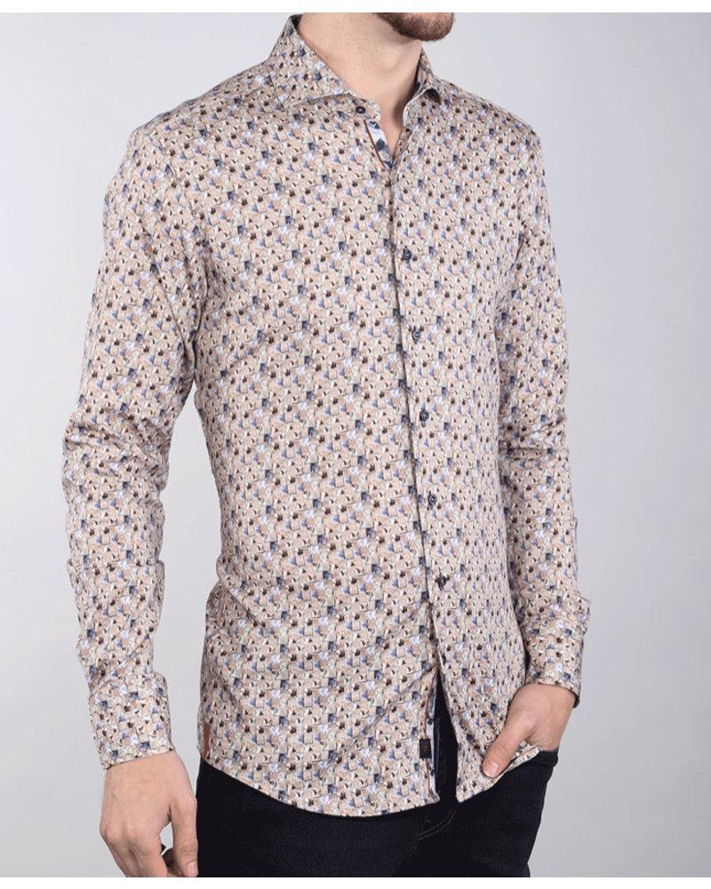 7 DOWNIE Modern Fit Tan Floral Shirt