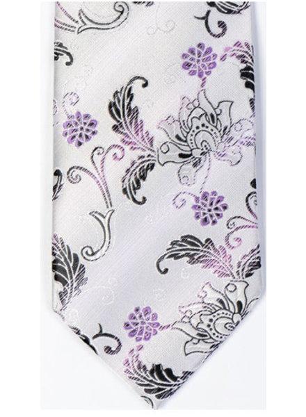 MONTEBELLO Grey with Black Mauve Floral Silk Tie