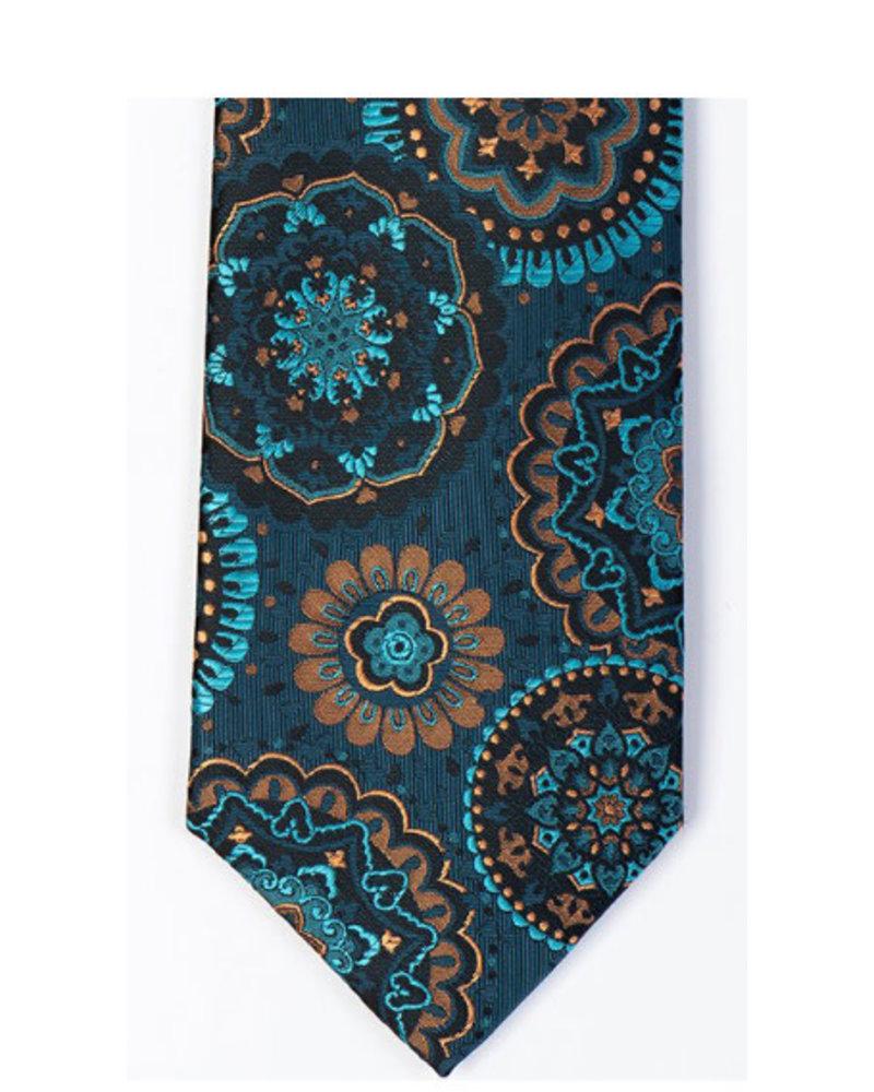 MONTEBELLO Aqua Tan Silk Tie