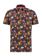 A FISH NAMED FRED Navy Floral Jersey Polo