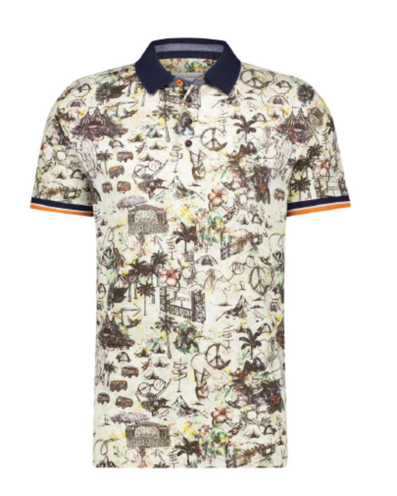 A FISH NAMED FRED Festival Map Off White Polo
