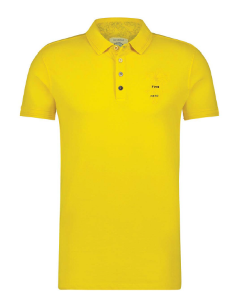 A FISH NAMED FRED Modern Fit Garment Dye Yellow Polo