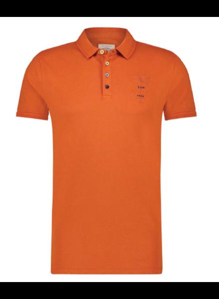 A FISH NAMED FRED Garment Dye Orange Polo