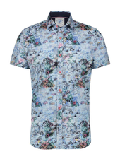 A FISH NAMED FRED Modern Fit Festival Map Light Blue Shirt