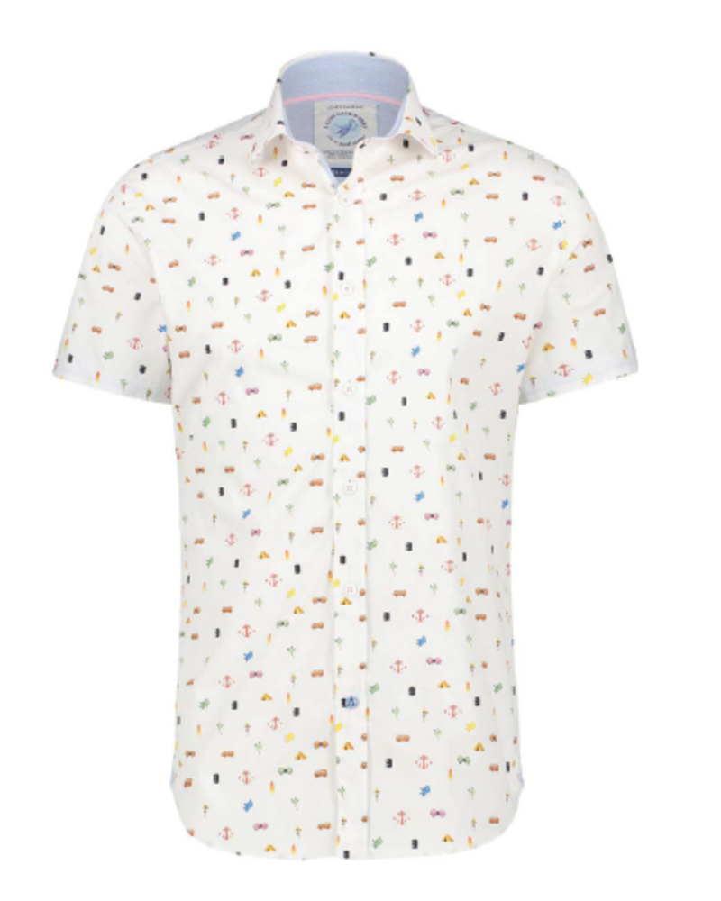 A FISH NAMED FRED Modern Fit Festival Parts White Shirt
