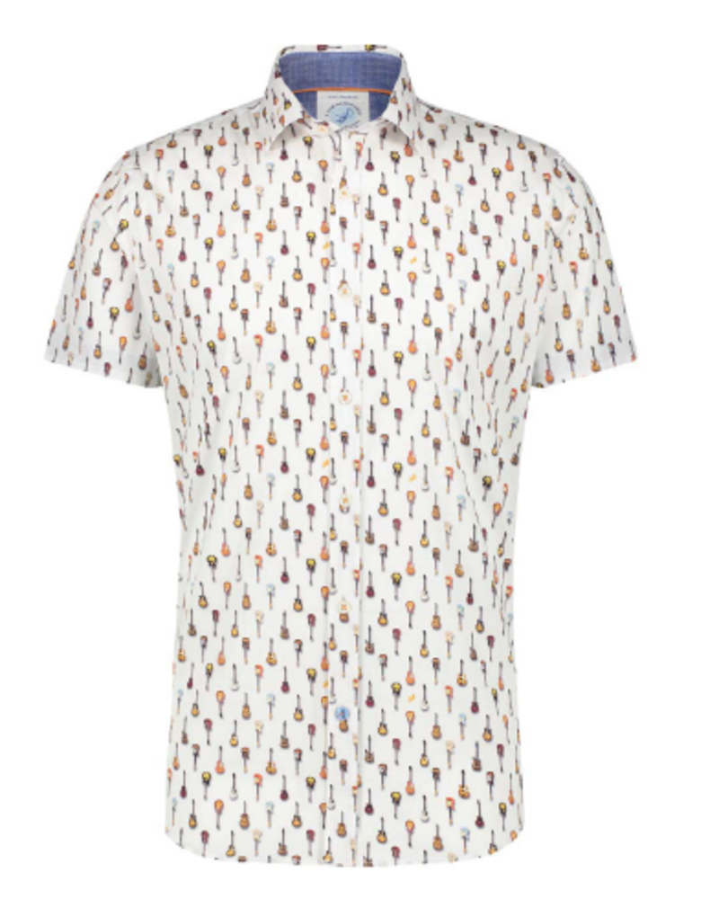 A FISH NAMED FRED Modern Fit Guitars White Shirt