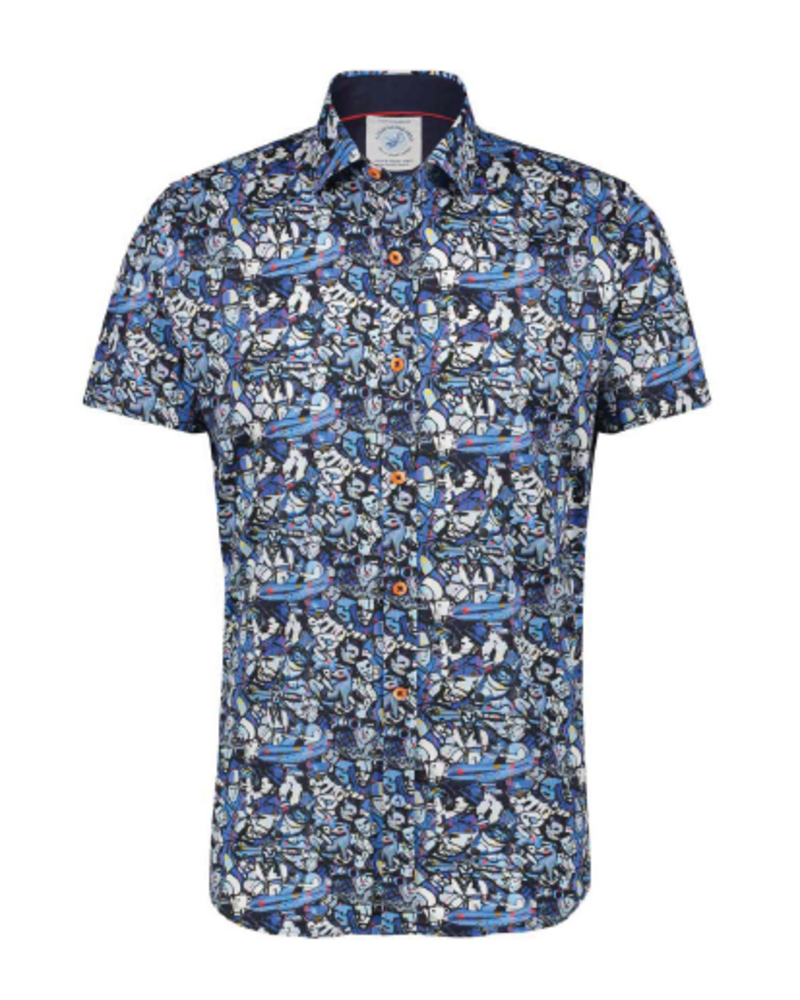 A FISH NAMED FRED Modern Fit Best of Brood Blue Shirt