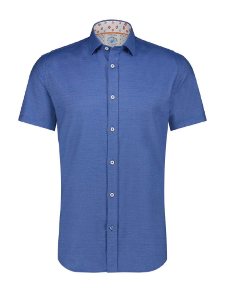 A FISH NAMED FRED Modern Fit Power Stretch Blue Shirt