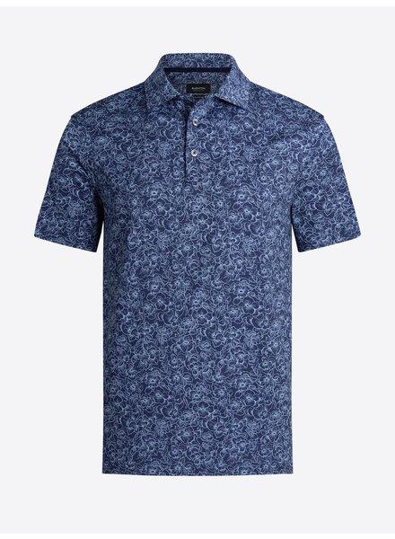 BUGATCHI UOMO Navy Floral Oooh Cotton Polo