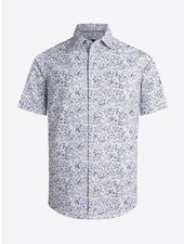 BUGATCHI UOMO Modern Fit White Floral Oooh Cotton Shirt