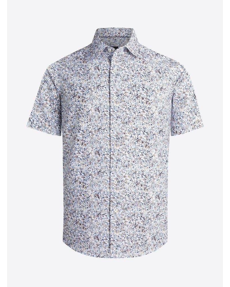BUGATCHI UOMO Modern Fit White Floral Oooh Cotton Shirt
